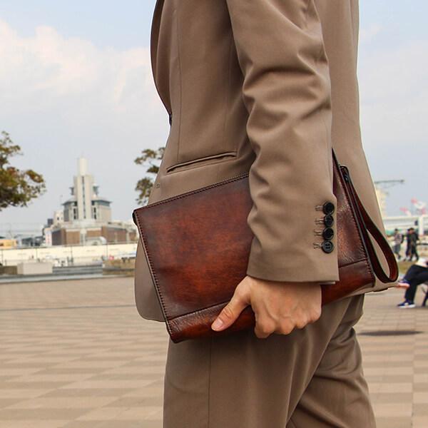 ラガードのセカンドバッグ G-3 シャドー仕上げストラップハンドルセカンドバッグ Lサイズ