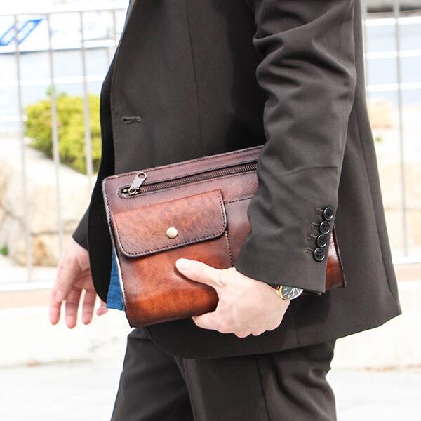 ラガードのセカンドバッグ G-3 フロントポケット付シャドー仕上げストラップハンドルセカンドバッグ